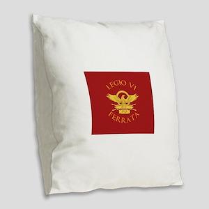 Legio VI-RED Burlap Throw Pillow