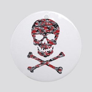 Camo Skull and Crossbones Round Ornament