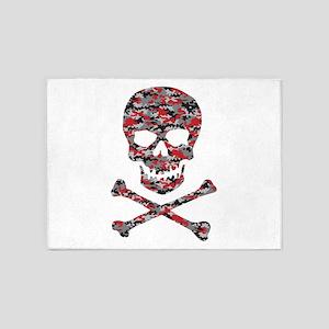 Camo Skull and Crossbones 5'x7'Area Rug