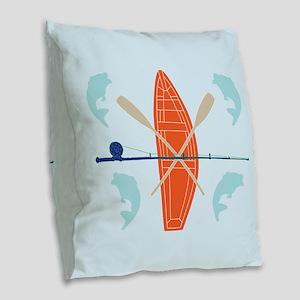 Gone Fishing Burlap Throw Pillow