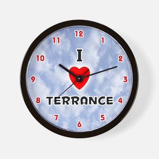 I Love Terrance (Red/Blk) Valentine Wall Clock