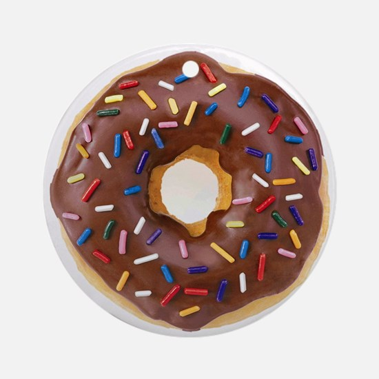 Frosted donut with sprinkles Round Ornament