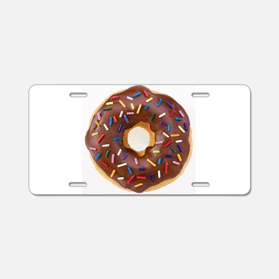 Frosted donut with sprinkles Aluminum License Plat