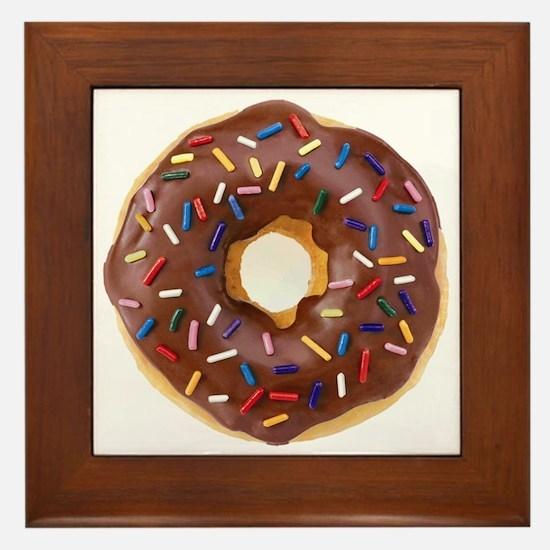Frosted donut with sprinkles Framed Tile