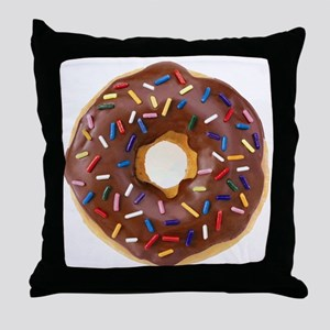 Frosted donut with sprinkles Throw Pillow