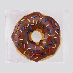 Frosted donut with sprinkles Throw Blanket