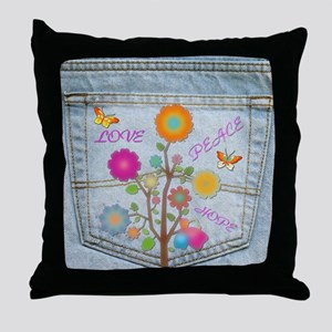 Denim Pocket Peace Love Hope Throw Pillow