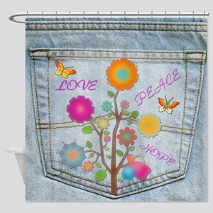 Denim Pocket Peace Love Hope Shower Curtain