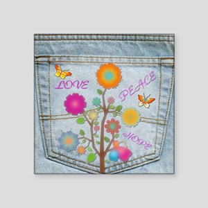 Denim Pocket Peace Love Hope Sticker