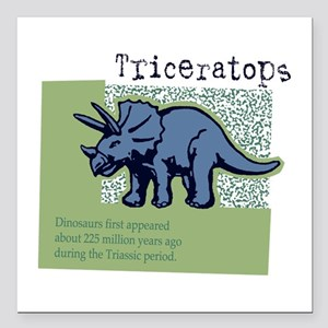 "Triceratops Square Car Magnet 3"" x 3"""