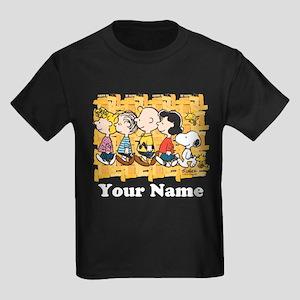 Peanuts Walking Personalized Kids Dark T-Shirt