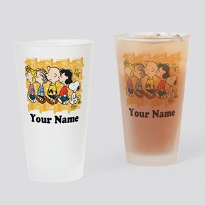 Peanuts Walking Personalized Drinking Glass