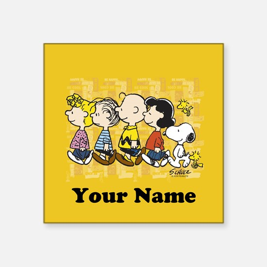 "Peanuts Walking Personalize Square Sticker 3"" x 3"""
