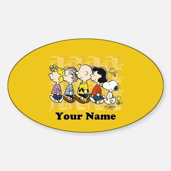 Peanuts Walking Personalized Sticker (Oval)