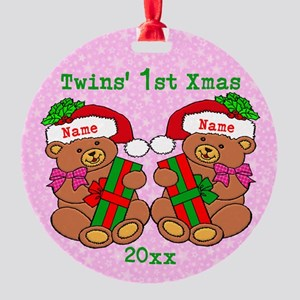 Twins' 1st Xmas Round Ornament