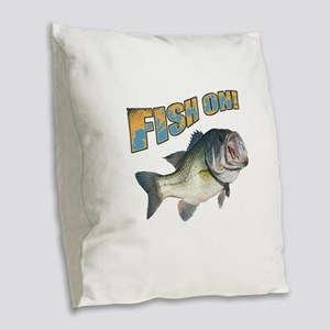Fish on Bass color Burlap Throw Pillow