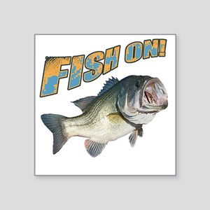 """Fish on Bass color Square Sticker 3"""" x 3"""""""
