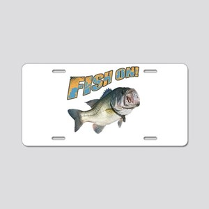 Fish on Bass color Aluminum License Plate