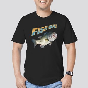Fish on Bass color Men's Fitted T-Shirt (dark)