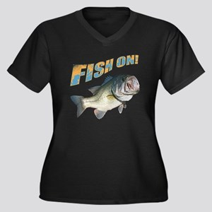Fish on Bass Women's Plus Size V-Neck Dark T-Shirt