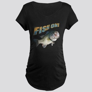 Fish on Bass color Maternity Dark T-Shirt