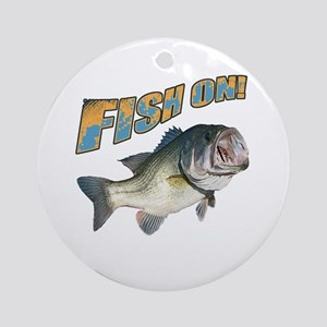 Fish on Bass color Round Ornament