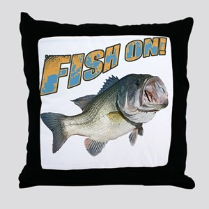 Fish on Bass color Throw Pillow