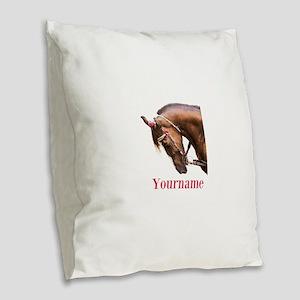 Horse (p) Burlap Throw Pillow
