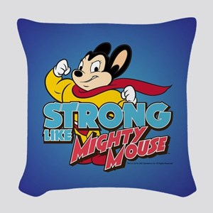 Strong Mighty Mouse Woven Throw Pillow