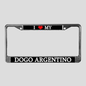 Love Argentine Dogo License Plate Frame