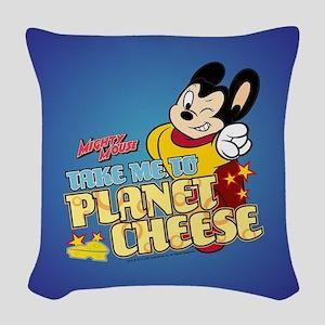 Take Me To Planet Cheese Woven Throw Pillow