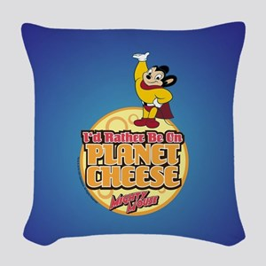 Rather Be on Planet Cheese Woven Throw Pillow