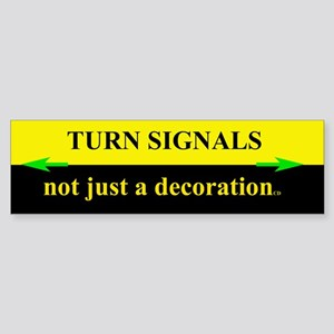 Turn Signals Bumper Sticker Black & Yellow