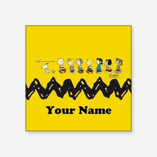 "Peanuts Running Personalize Square Sticker 3"" x 3"""