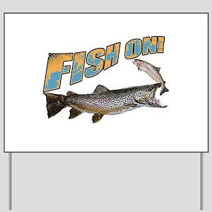 Fish on brown trout feeding Yard Sign