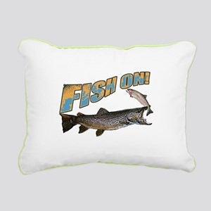Fish on brown trout feed Rectangular Canvas Pillow