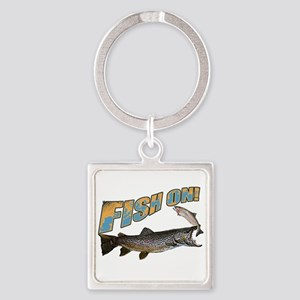 Fish on brown trout feeding Square Keychain
