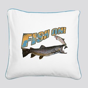 Fish on brown trout feeding Square Canvas Pillow