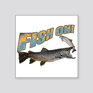 "Fish on brown trout feeding Square Sticker 3"" x 3"""