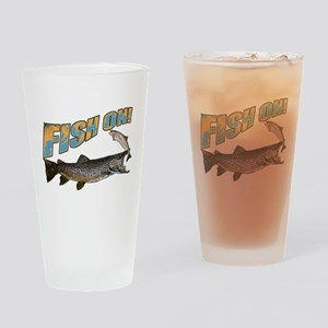 Fish on brown trout feeding Drinking Glass