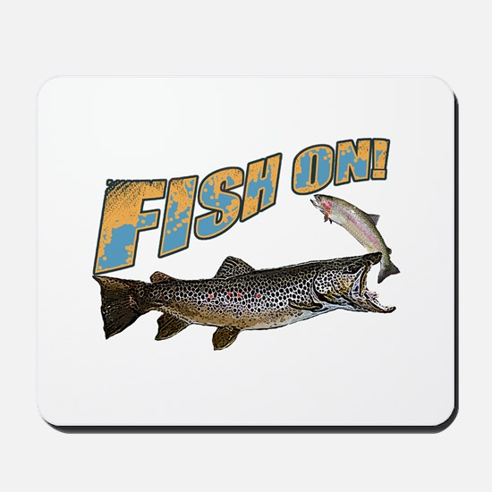 Fish on brown trout feeding Mousepad