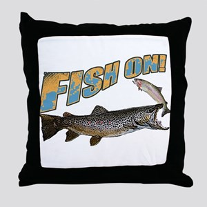 Fish on brown trout feeding Throw Pillow
