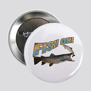 """Fish on brown trout feeding 2.25"""" Button"""