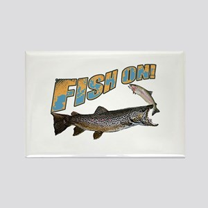 Fish on brown trout feeding Rectangle Magnet
