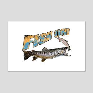 Fish on brown trout feeding Mini Poster Print
