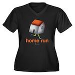 Home Run - S Women's Plus Size V-Neck Dark T-Shirt