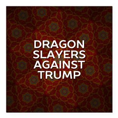 "Dragon Slayers Against Square Car Magnet 3"" X"