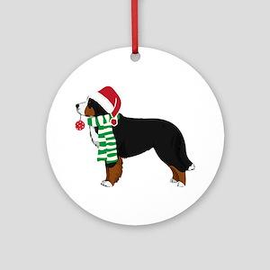 Christmas Bernese Mt Dog Round Ornament