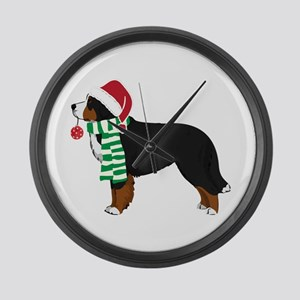 Christmas Bernese Mt Dog Large Wall Clock