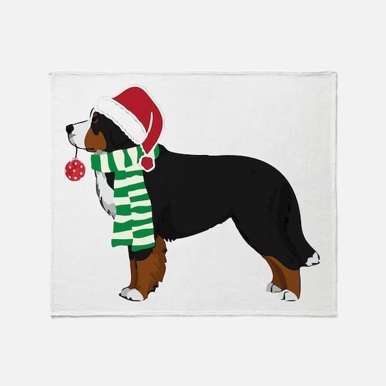 Christmas Bernese Mt Dog Throw Blanket